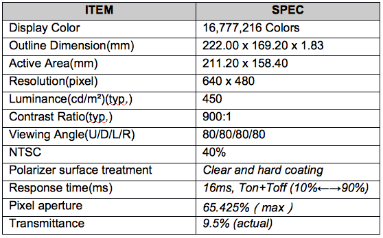 TIANMA 10.4 INCH TRANSPARENT DISPLAY